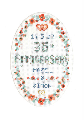 Coral Anniversary card cross stitch