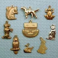 set of animal brass charms