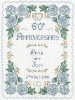 Rose 60th Anniversary sampler cross stitch