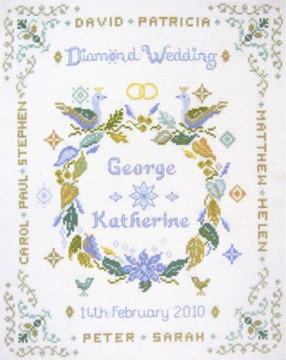 Diamond Anniversary sampler cross stitch kit