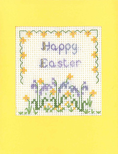 Flowers Happy Easter card cross stitch