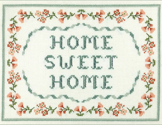 Floral home sweet home cross stitch sampler