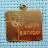happy birthday brass charm