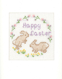 Happy Easter Bunnies card cross stitch