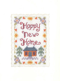 mini Happy New Home card cross stitch