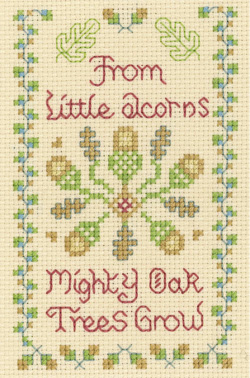 Little Acorns mini cross stitch sampler