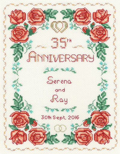 Rose 35th Anniversary Sampler cross stitch kit