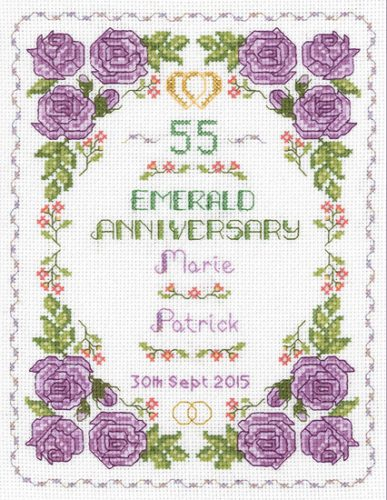 Rose 55th anniversary sampler cross stitch kit