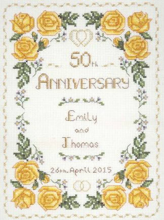 Rose 50th Anniversary Sampler cross stitch