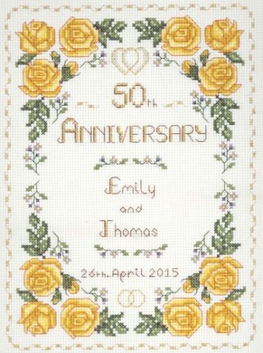 Rose 50th Anniversary Sampler cross stitch