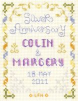 Mini silver wedding anniversary cross stitch kit