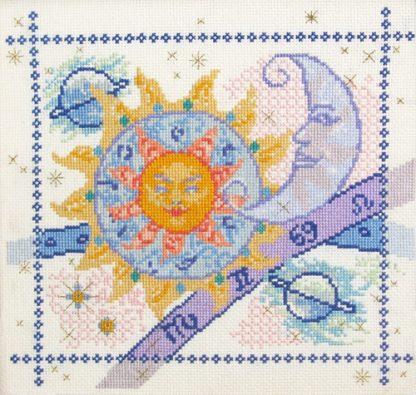 cross stitch sun, moon and stars sampler kit