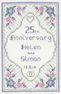 Glitzy Silver Wedding Anniversary cross stitch