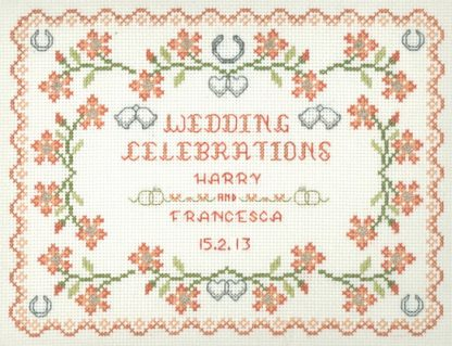cross stitch Peach Wedding sampler kit