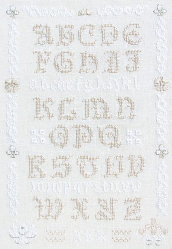white alphabet sampler cross stitch