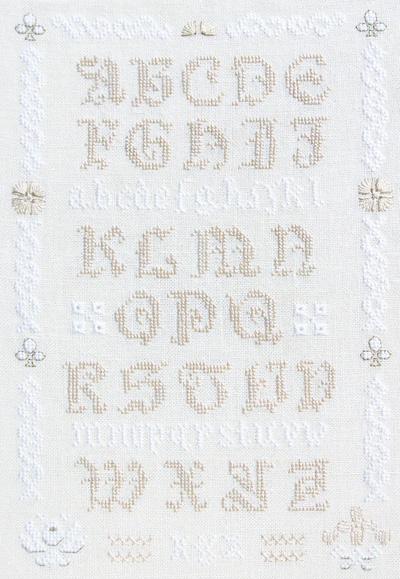 white alphabet sampler cross stitch