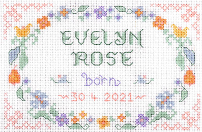 birth sampler cross stitch kit