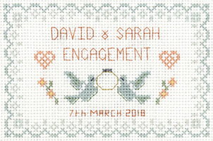 petite Engagement sampler cross stitch