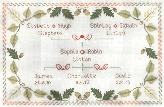 Family Tree sampler cross stitch