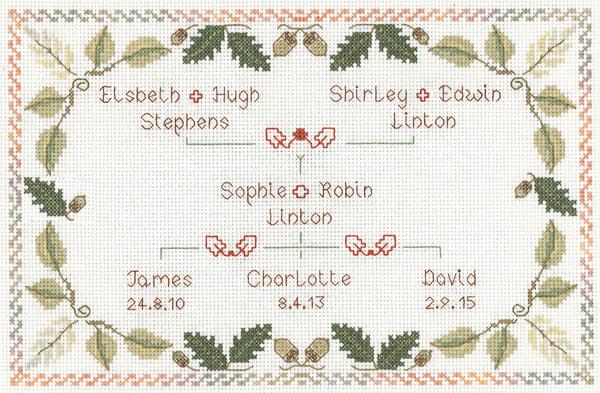 Family Tree sampler cross stitch