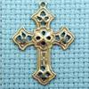 filigree cross brass charm