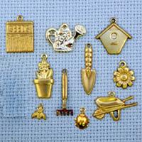 set of Garden brass charms