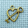 heart and key brass charm