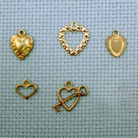 set of Heart brass charms