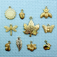 set of nature brass charms