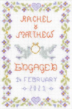 petite Engagement sampler cross