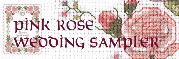 pink rose wedding sampler