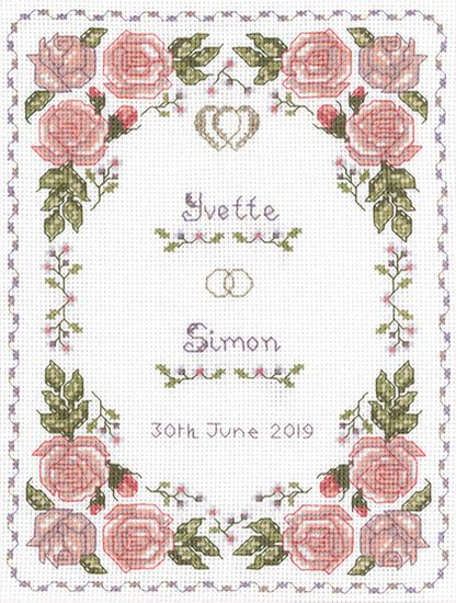 Roses dusky pink wedding sampler cross stitch