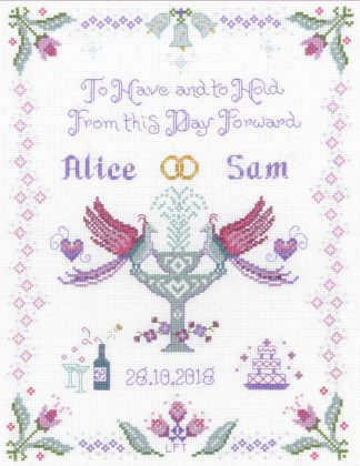 plum wedding cross stitch kit