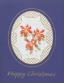 Mini Poinsettias Xmas card cross stitch