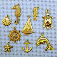 Sea Life brass charms