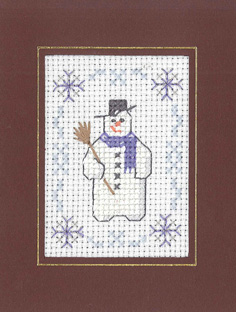 Mini snowman Xmas card cross stitch