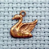 swan brass charm