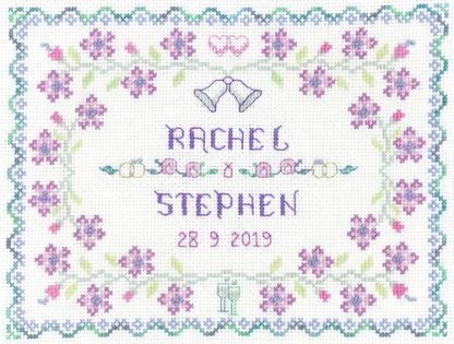 Lilac Wedding sampler cross stitch