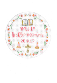 Pink 1st Communion card cross stitch