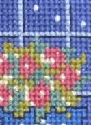 detail of a house is not a home without a cat cross stitch kit