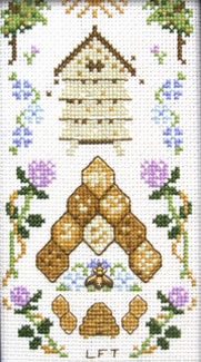 Beehive with bee charm cross stitch kit