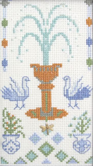 Fountain with dragonfly charm cross stitch kit