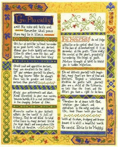 Desiderata cross stitch Sampler kit