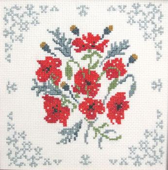 Poppies sampler cross stitch kit