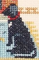 detail of a house is not a home without a dog cross stitch kit
