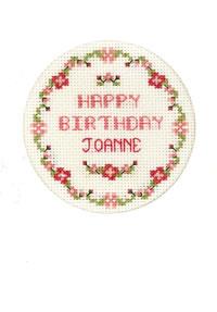 pink flowers birthday card cross stitch kit