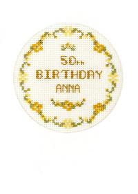 golden flowers birthday card cross stitch kit
