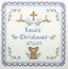 Blue Christening Sampler cross stitch