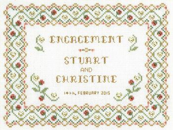 engagement sampler cross stitch kit