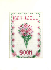 mini Get Well Soon card cross stitch